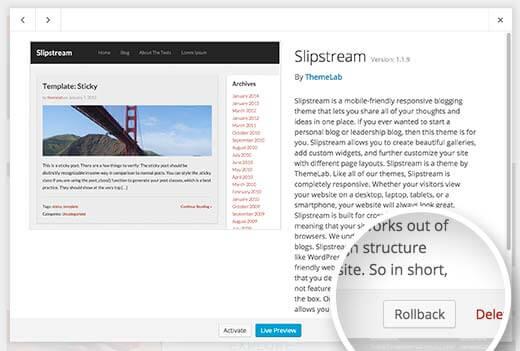 How to RollBack WordPress Plugins