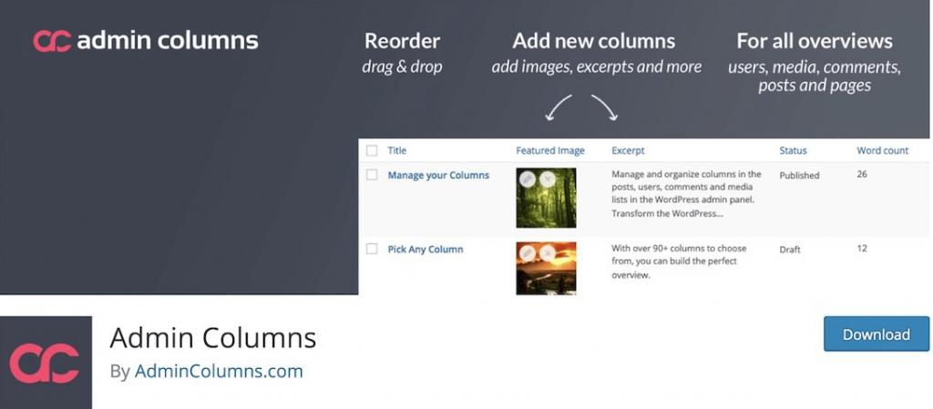 admin columns WordPress Admin Themes