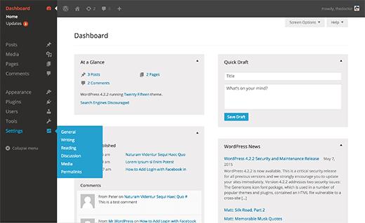 Slate Admin Theme WordPress Admin Themes